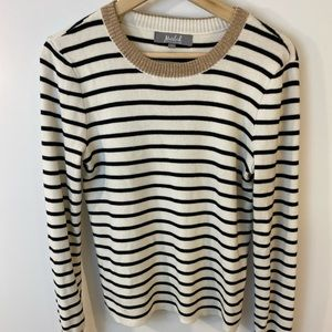 Marled by Reunited White Sweater with Black Stripe